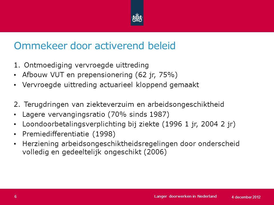 Pensioneringsleeftijd naar opleidingsniveau Langer doorwerken in Nederland 7 4 december 2012