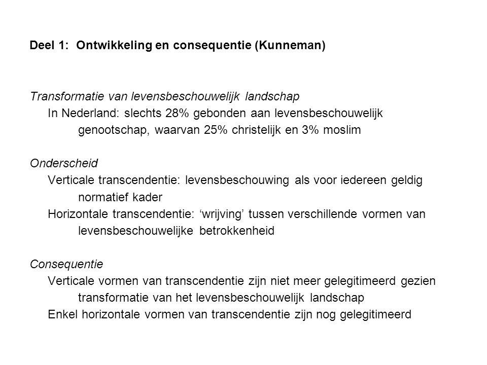 Deel 1: Ontwikkeling en consequentie (Kunneman) Transformatie van levensbeschouwelijk landschap In Nederland: slechts 28% gebonden aan levensbeschouwe