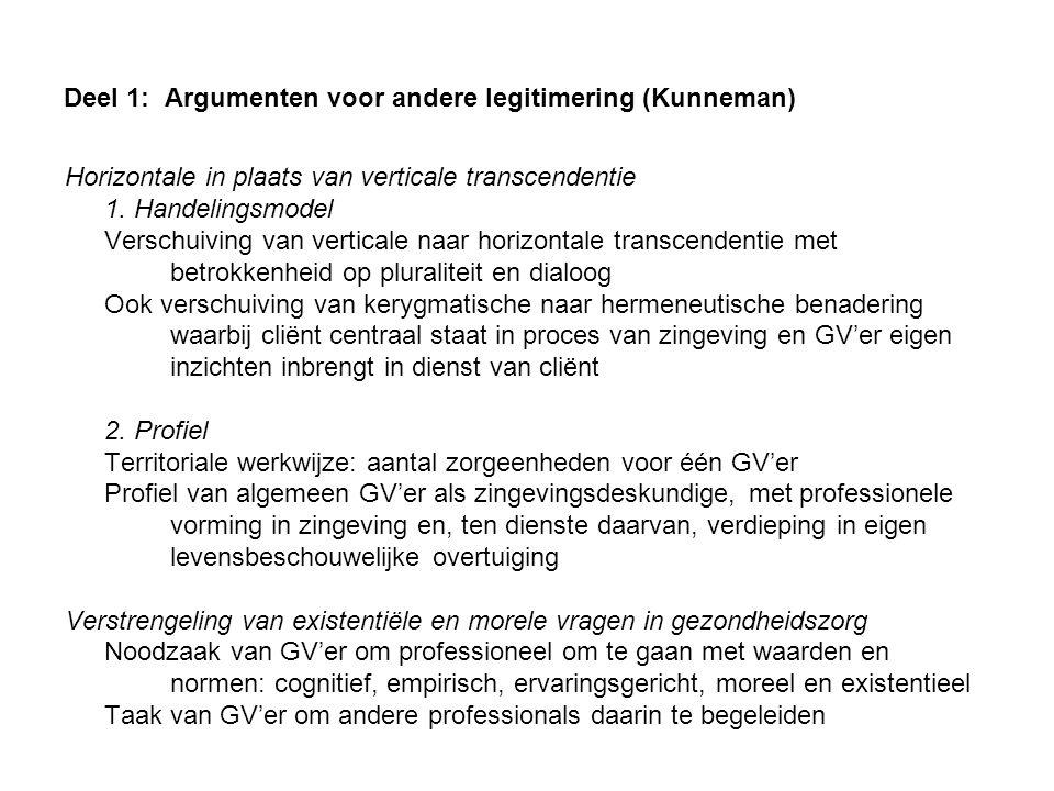 Deel 1: Argumenten voor andere legitimering (Kunneman) Horizontale in plaats van verticale transcendentie 1. Handelingsmodel Verschuiving van vertical