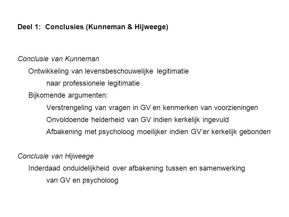 Deel 1: Conclusies (Kunneman & Hijweege) Conclusie van Kunneman Ontwikkeling van levensbeschouwelijke legitimatie naar professionele legitimatie Bijko