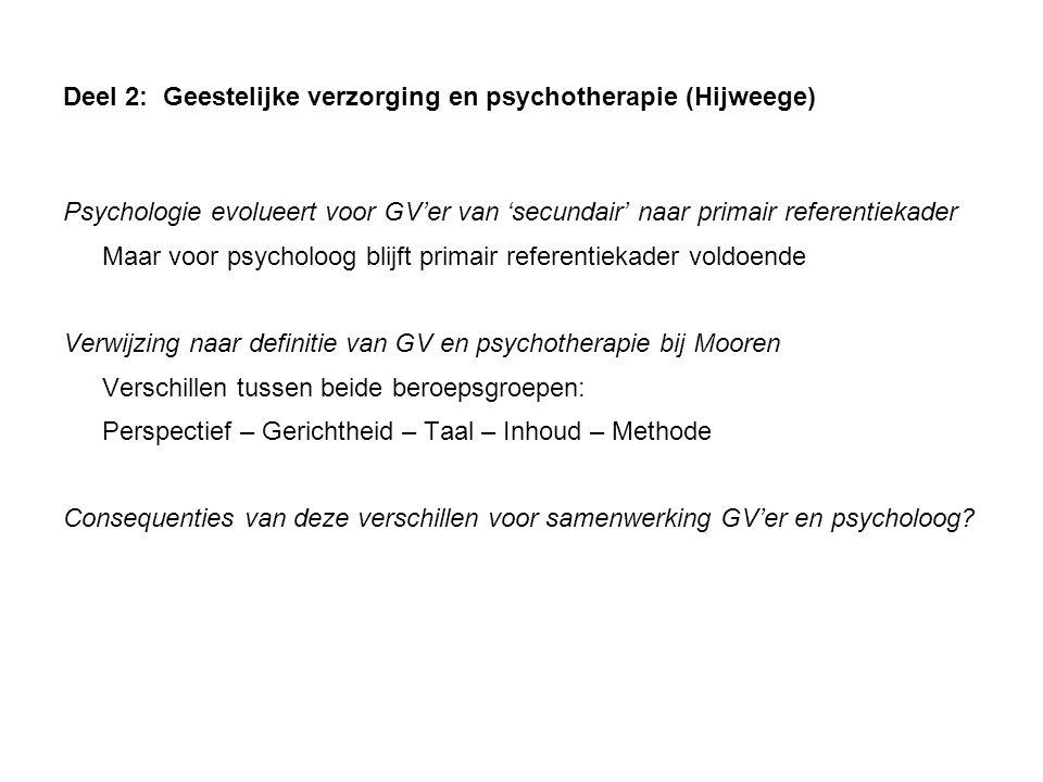 Deel 2: Geestelijke verzorging en psychotherapie (Hijweege) Psychologie evolueert voor GV'er van 'secundair' naar primair referentiekader Maar voor ps