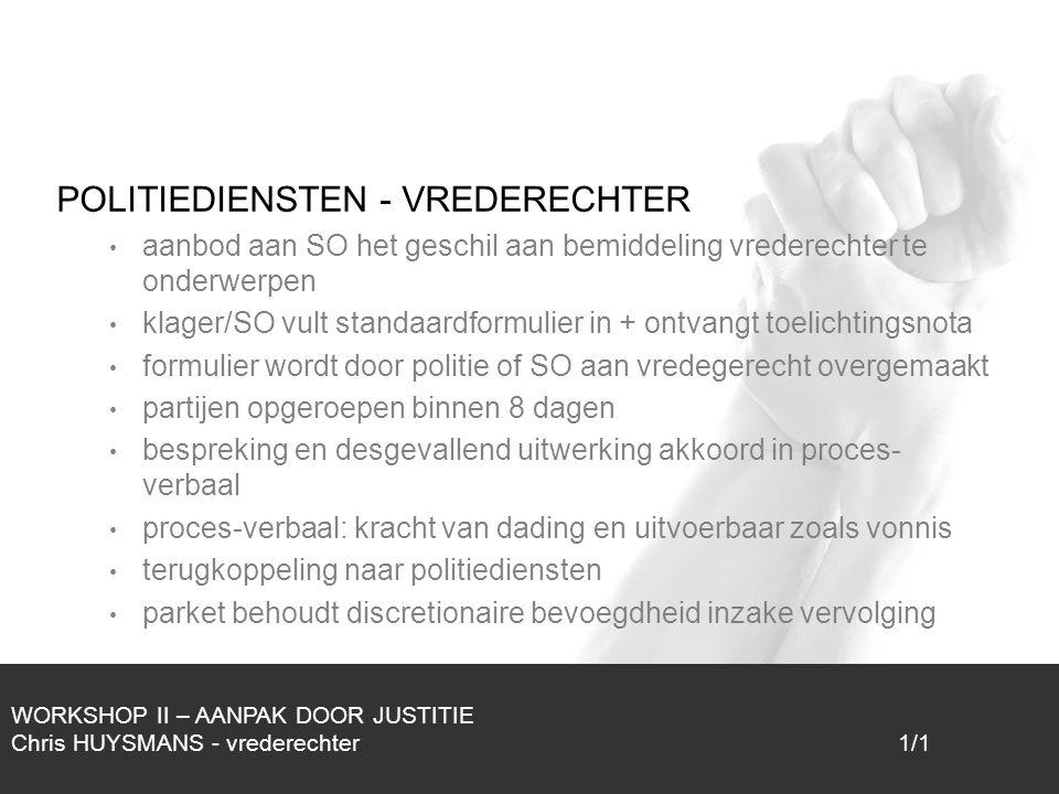 1/1 POLITIEDIENSTEN - VREDERECHTER aanbod aan SO het geschil aan bemiddeling vrederechter te onderwerpen klager/SO vult standaardformulier in + ontvan