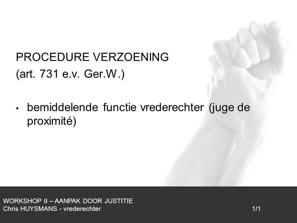 1/1 PROCEDURE VERZOENING (art.731 e.v.