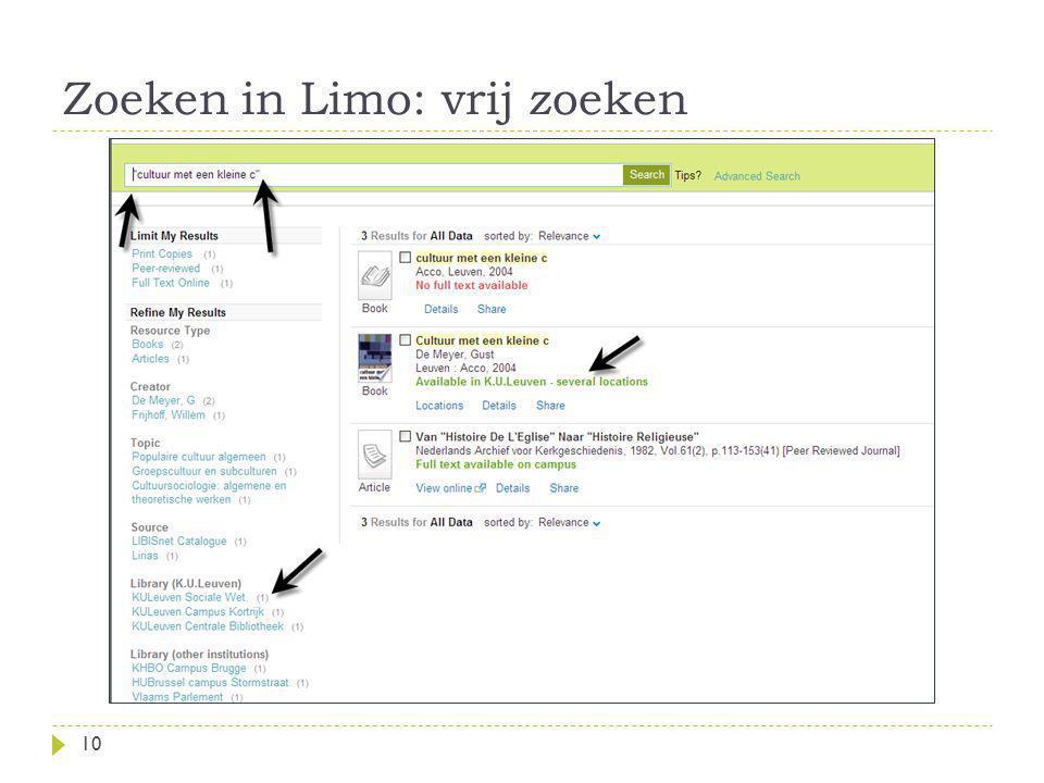 Zoeken in Limo: vrij zoeken 10
