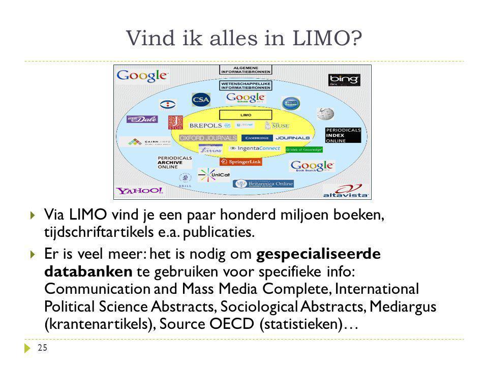 Vind ik alles in LIMO? 25  Via LIMO vind je een paar honderd miljoen boeken, tijdschriftartikels e.a. publicaties.  Er is veel meer: het is nodig om