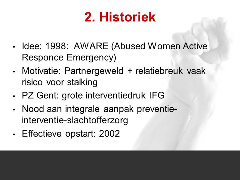 1/1 2. Historiek Idee: 1998: AWARE (Abused Women Active Responce Emergency) Motivatie: Partnergeweld + relatiebreuk vaak risico voor stalking PZ Gent: