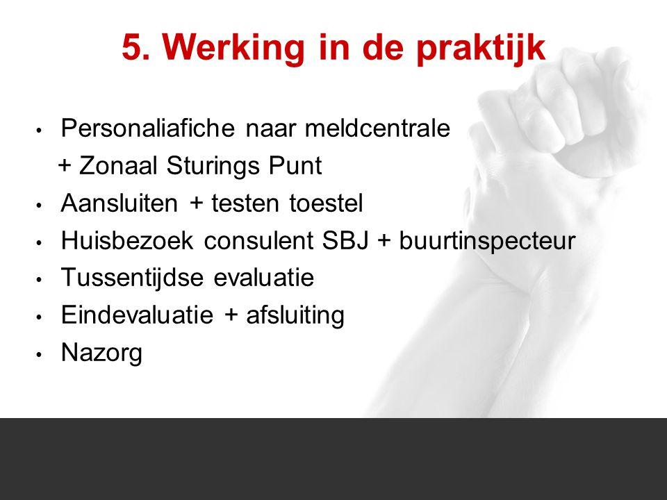 1/1 5. Werking in de praktijk Personaliafiche naar meldcentrale + Zonaal Sturings Punt Aansluiten + testen toestel Huisbezoek consulent SBJ + buurtins