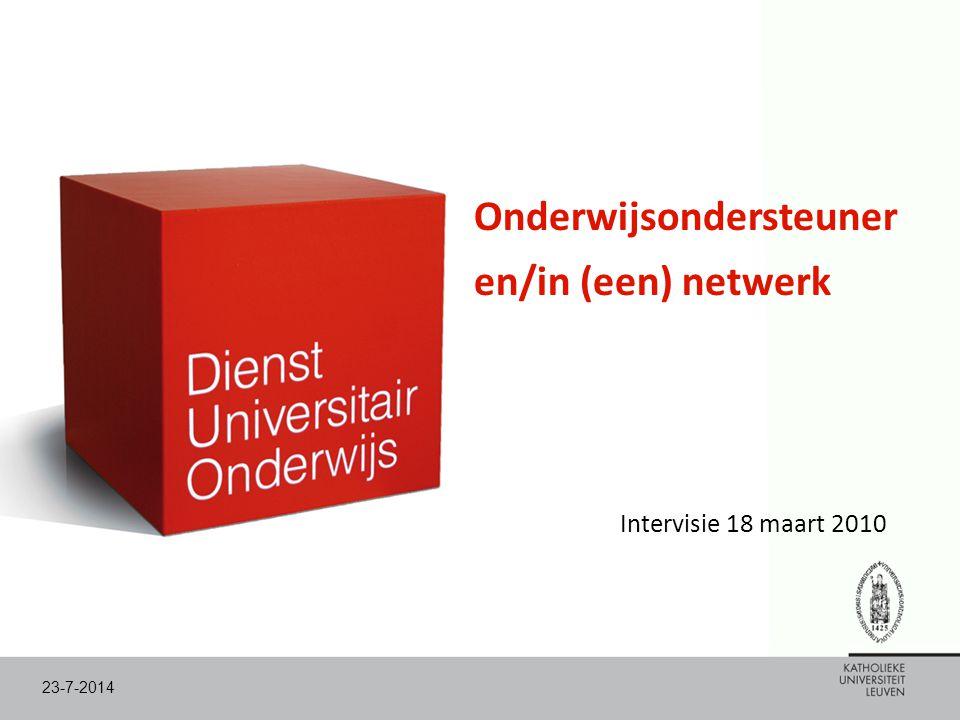 Onderwijsondersteuner en/in (een) netwerk Intervisie 18 maart 2010 23-7-2014