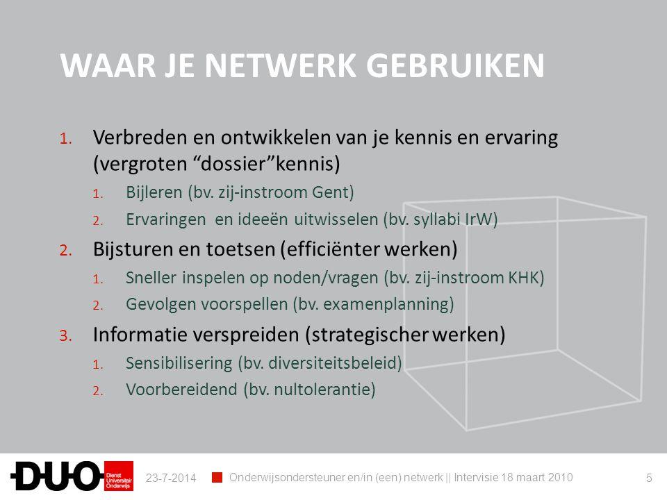 MAAR….Netwerk opbouwen: 1. Tijd voor maken 2. Structuur moet het toelaten 3.