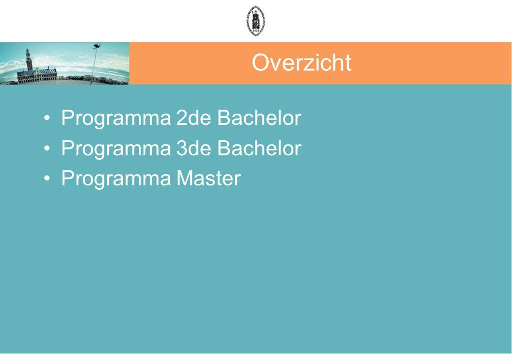 Overzicht Programma 2de Bachelor Programma 3de Bachelor Programma Master
