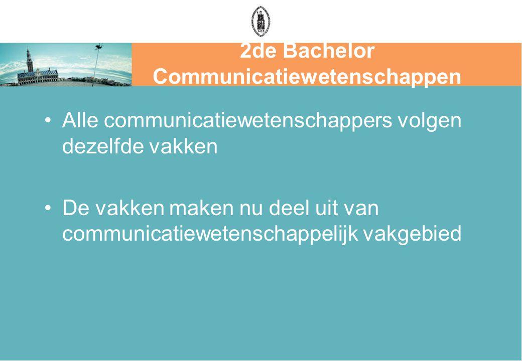 2de Bachelor Communicatiewetenschappen Alle communicatiewetenschappers volgen dezelfde vakken De vakken maken nu deel uit van communicatiewetenschappelijk vakgebied