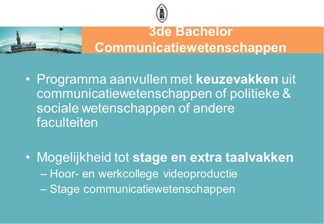 3de Bachelor Communicatiewetenschappen Programma aanvullen met keuzevakken uit communicatiewetenschappen of politieke & sociale wetenschappen of andere faculteiten Mogelijkheid tot stage en extra taalvakken –Hoor- en werkcollege videoproductie –Stage communicatiewetenschappen