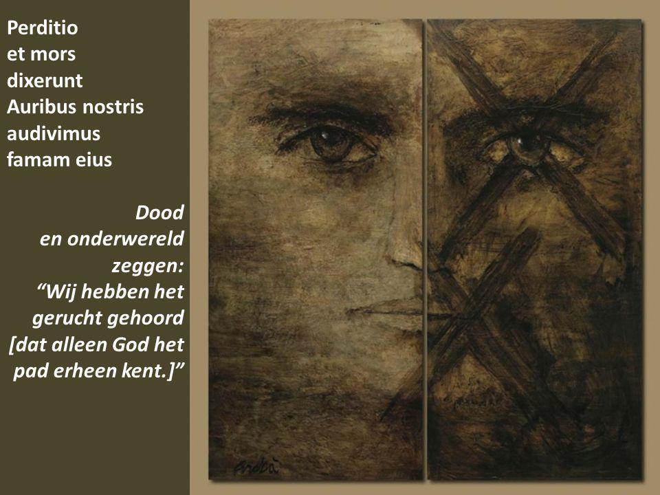 Perditio et mors dixerunt Auribus nostris audivimus famam eius Dood en onderwereld zeggen: Wij hebben het gerucht gehoord [dat alleen God het pad erheen kent.]