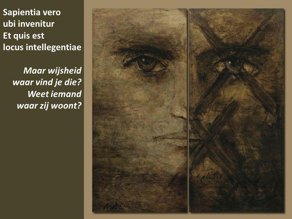 Sapientia vero ubi invenitur Et quis est locus intellegentiae Maar wijsheid waar vind je die.