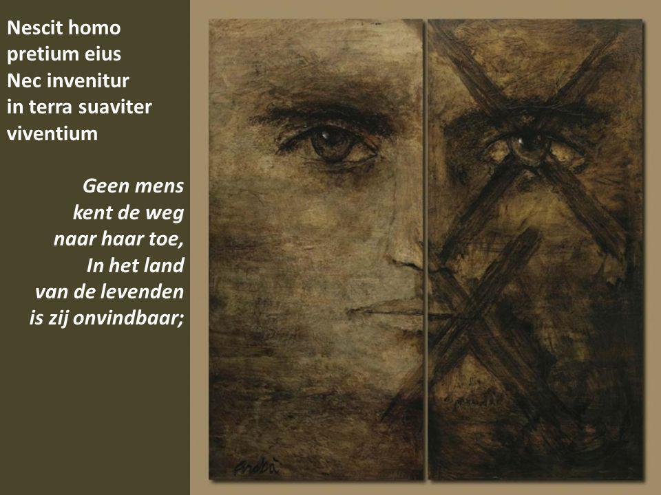 Nescit homo pretium eius Nec invenitur in terra suaviter viventium Geen mens kent de weg naar haar toe, In het land van de levenden is zij onvindbaar;