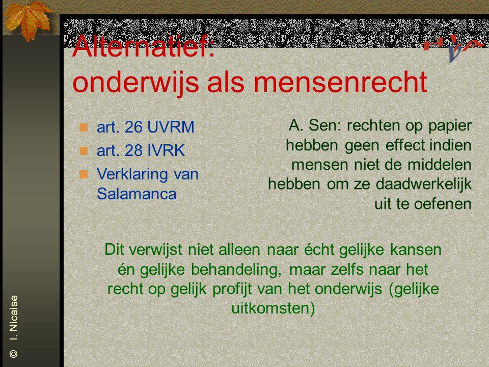Alternatief: onderwijs als mensenrecht © I. Nicaise art. 26 UVRM art. 28 IVRK Verklaring van Salamanca A. Sen: rechten op papier hebben geen effect in