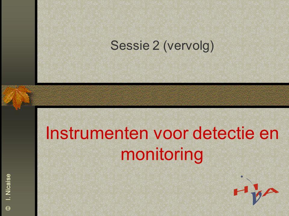 Instrumenten voor detectie en monitoring Sessie 2 (vervolg) © I. Nicaise