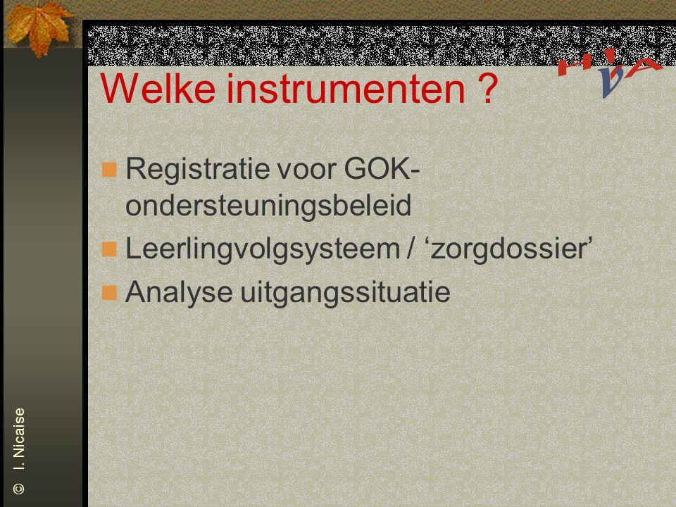Welke instrumenten ? Registratie voor GOK- ondersteuningsbeleid Leerlingvolgsysteem / 'zorgdossier' Analyse uitgangssituatie © I. Nicaise