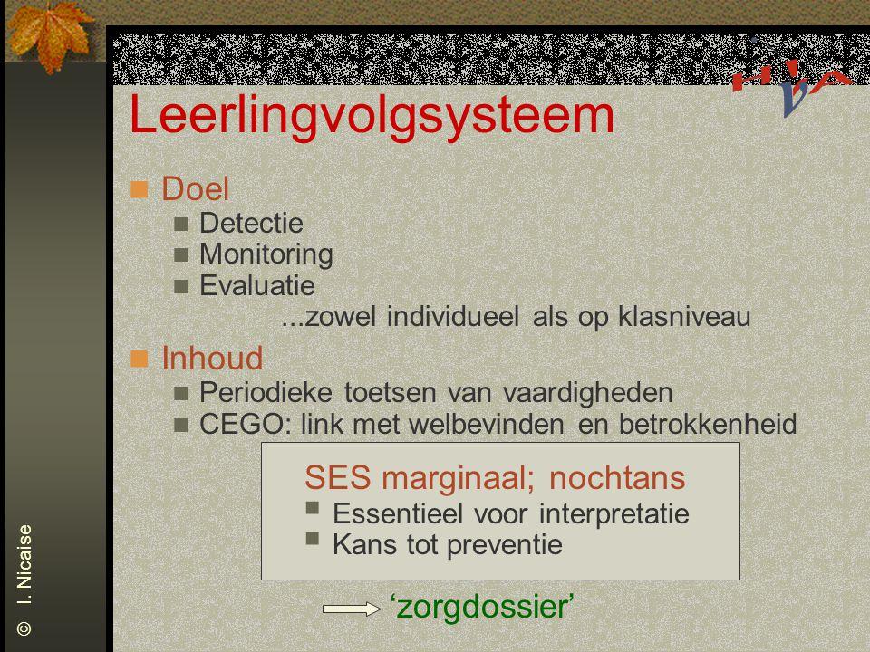 Leerlingvolgsysteem Doel Detectie Monitoring Evaluatie...zowel individueel als op klasniveau Inhoud Periodieke toetsen van vaardigheden CEGO: link met
