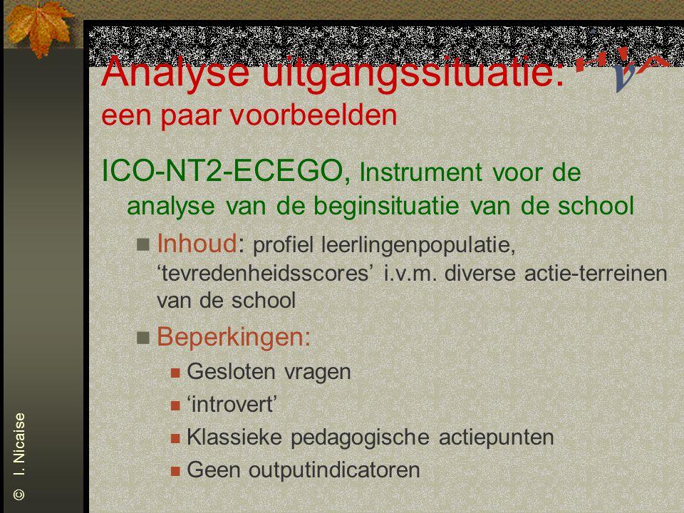 Analyse uitgangssituatie: een paar voorbeelden ICO-NT2-ECEGO, Instrument voor de analyse van de beginsituatie van de school Inhoud: profiel leerlingen