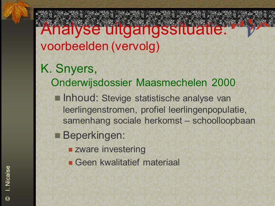 Analyse uitgangssituatie: voorbeelden (vervolg) K. Snyers, Onderwijsdossier Maasmechelen 2000 Inhoud: Stevige statistische analyse van leerlingenstrom