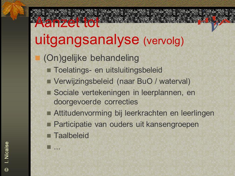 Aanzet tot uitgangsanalyse (vervolg) (On)gelijke behandeling Toelatings- en uitsluitingsbeleid Verwijzingsbeleid (naar BuO / waterval) Sociale verteke