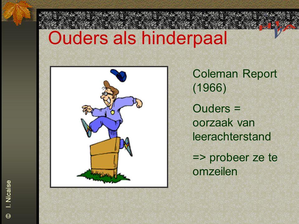 Ouders als hinderpaal Coleman Report (1966) Ouders = oorzaak van leerachterstand => probeer ze te omzeilen © I. Nicaise