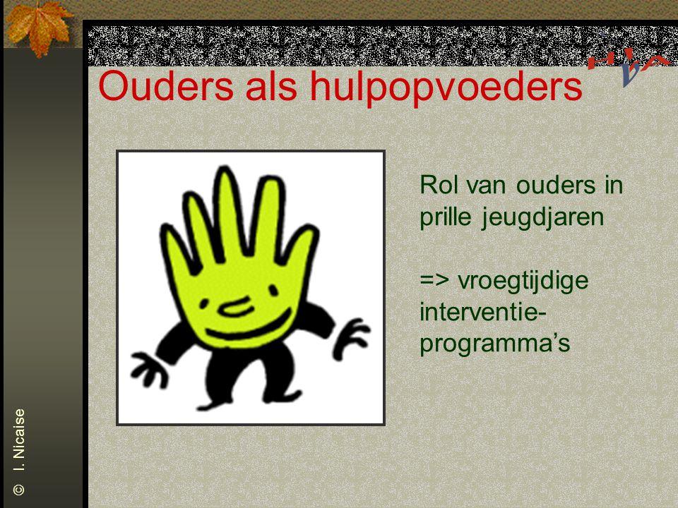 Ouders als hulpopvoeders Rol van ouders in prille jeugdjaren => vroegtijdige interventie- programma's © I. Nicaise