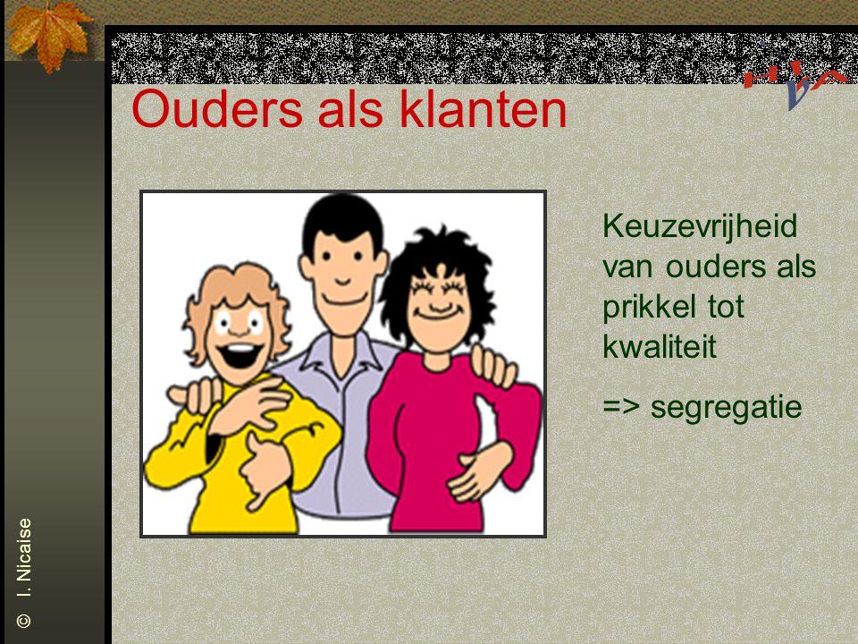 Ouders als klanten Keuzevrijheid van ouders als prikkel tot kwaliteit => segregatie © I. Nicaise