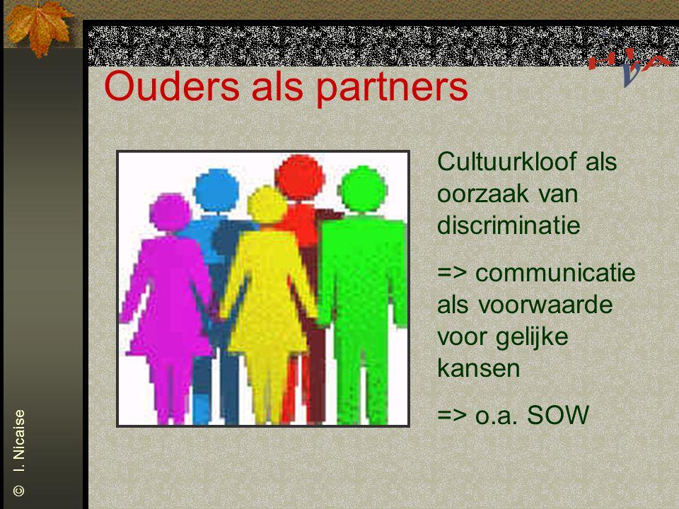 Ouders als partners Cultuurkloof als oorzaak van discriminatie => communicatie als voorwaarde voor gelijke kansen => o.a. SOW © I. Nicaise