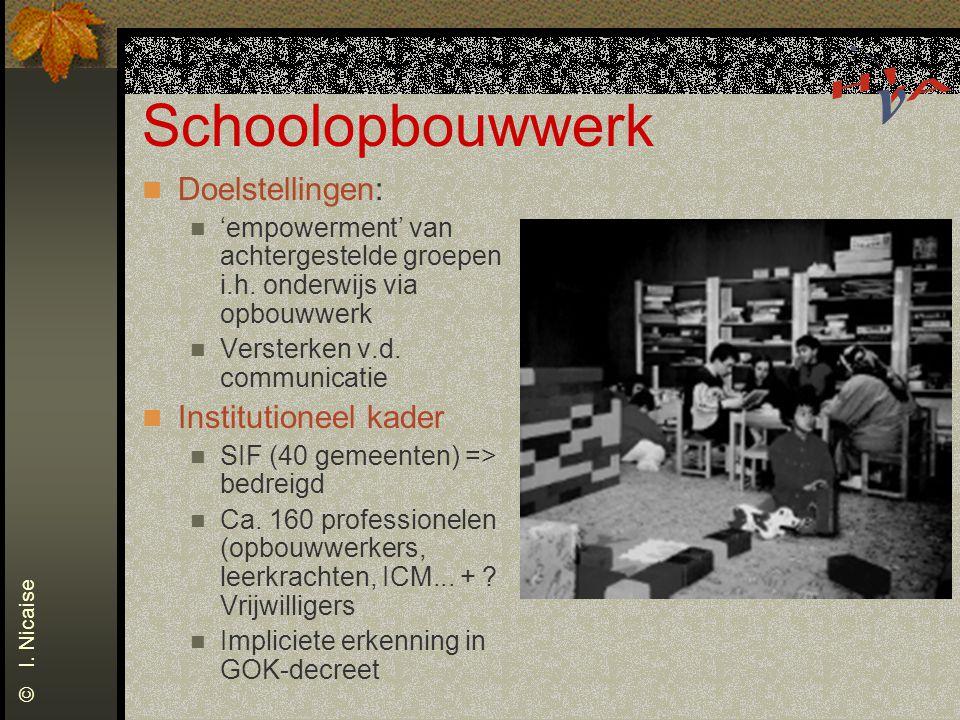 Schoolopbouwwerk Doelstellingen: 'empowerment' van achtergestelde groepen i.h. onderwijs via opbouwwerk Versterken v.d. communicatie Institutioneel ka