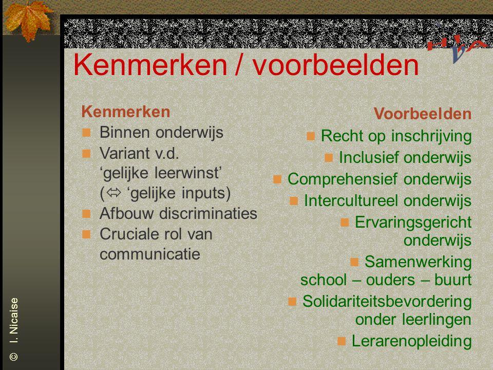 Kenmerken / voorbeelden Kenmerken Binnen onderwijs Variant v.d. 'gelijke leerwinst' (  'gelijke inputs) Afbouw discriminaties Cruciale rol van commun