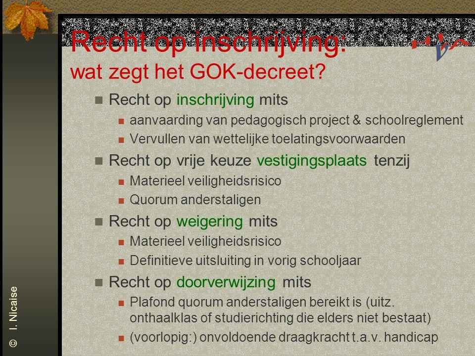 Recht op inschrijving: wat zegt het GOK-decreet? Recht op inschrijving mits aanvaarding van pedagogisch project & schoolreglement Vervullen van wettel