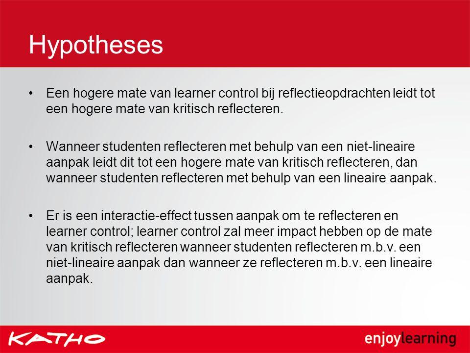 Hypotheses Een hogere mate van learner control bij reflectieopdrachten leidt tot een hogere mate van kritisch reflecteren. Wanneer studenten reflecter