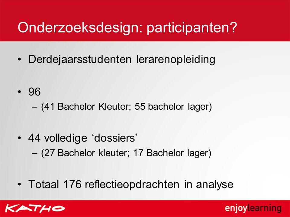 Derdejaarsstudenten lerarenopleiding 96 –(41 Bachelor Kleuter; 55 bachelor lager) 44 volledige 'dossiers' –(27 Bachelor kleuter; 17 Bachelor lager) To