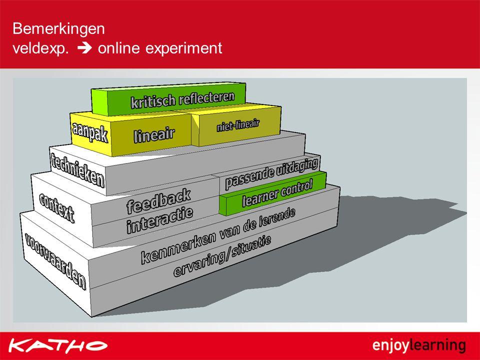 Bemerkingen veldexp.  online experiment