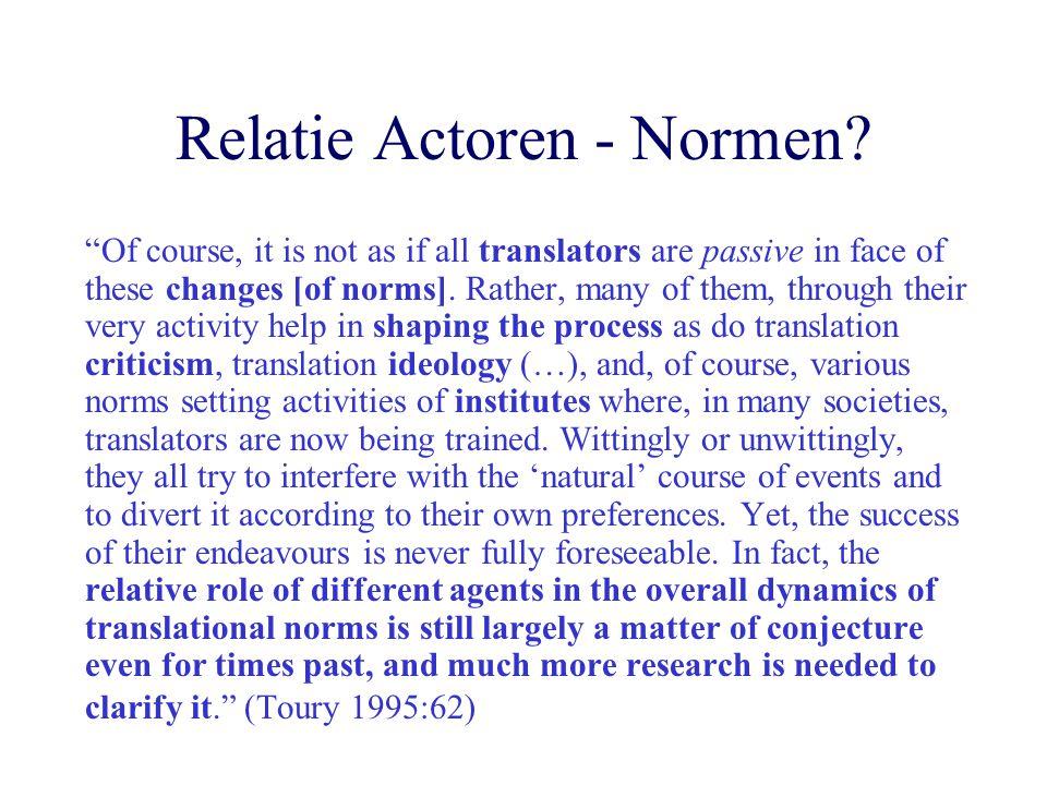 Relatie Actoren - Normen.