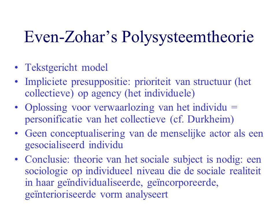 Even-Zohar's Polysysteemtheorie Tekstgericht model Impliciete presuppositie: prioriteit van structuur (het collectieve) op agency (het individuele) Op