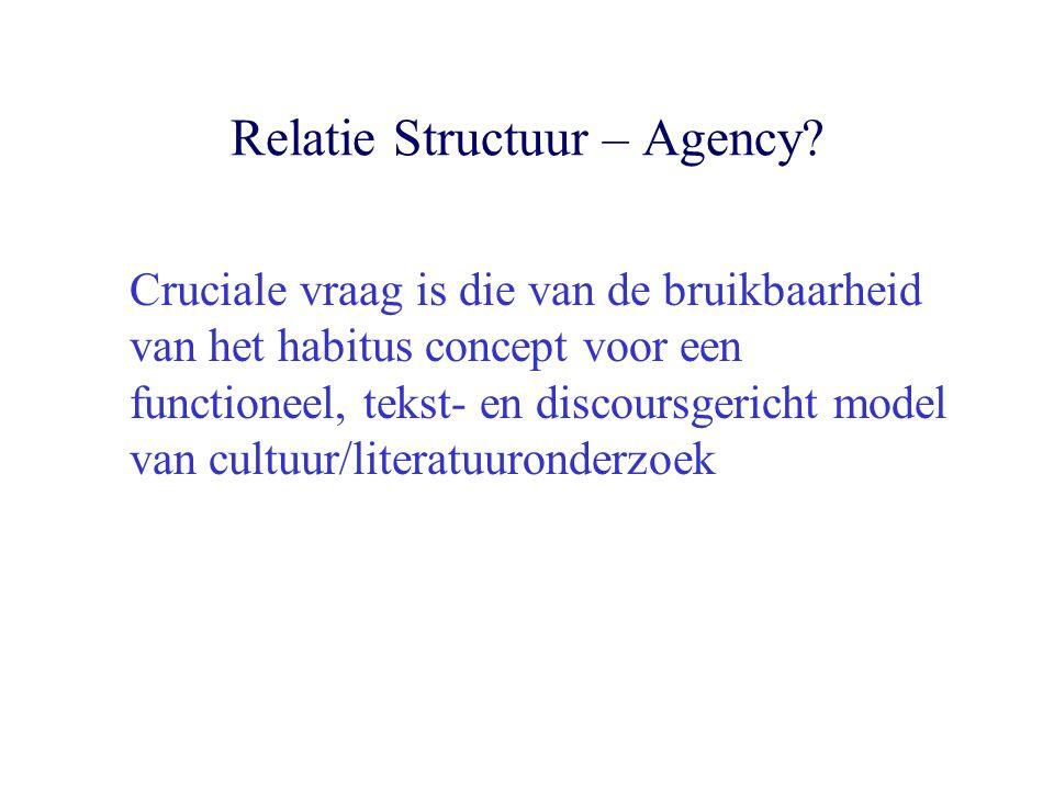 Relatie Structuur – Agency? Cruciale vraag is die van de bruikbaarheid van het habitus concept voor een functioneel, tekst- en discoursgericht model v