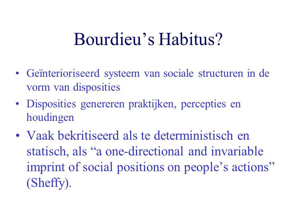 Bourdieu's Habitus? Geïnterioriseerd systeem van sociale structuren in de vorm van disposities Disposities genereren praktijken, percepties en houding