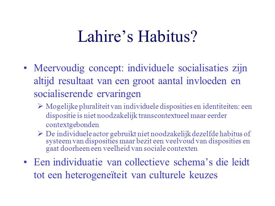 Lahire's Habitus? Meervoudig concept: individuele socialisaties zijn altijd resultaat van een groot aantal invloeden en socialiserende ervaringen  Mo