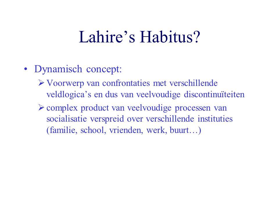 Lahire's Habitus? Dynamisch concept:  Voorwerp van confrontaties met verschillende veldlogica's en dus van veelvoudige discontinuïteiten  complex pr