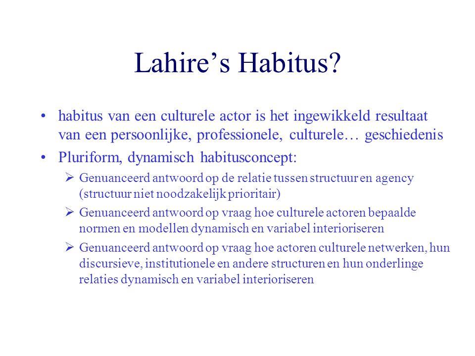 Lahire's Habitus? habitus van een culturele actor is het ingewikkeld resultaat van een persoonlijke, professionele, culturele… geschiedenis Pluriform,