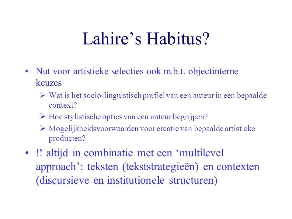 Lahire's Habitus? Nut voor artistieke selecties ook m.b.t. objectinterne keuzes  Wat is het socio-linguistisch profiel van een auteur in een bepaalde
