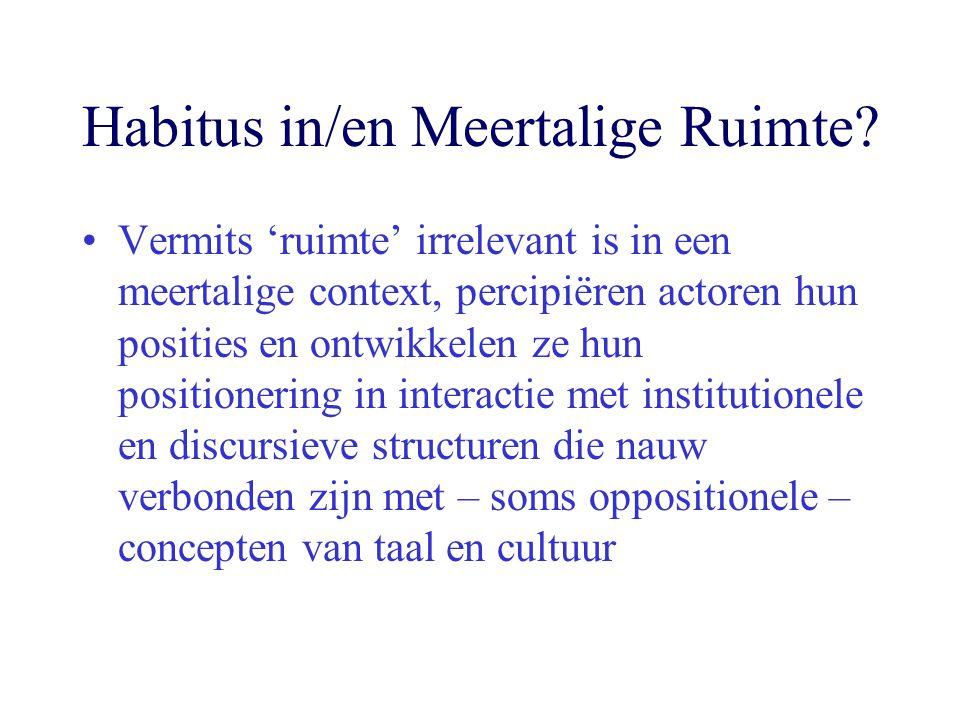 Habitus in/en Meertalige Ruimte? Vermits 'ruimte' irrelevant is in een meertalige context, percipiëren actoren hun posities en ontwikkelen ze hun posi