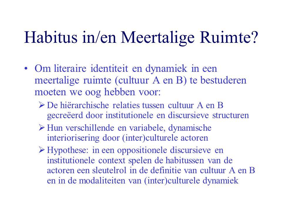 Habitus in/en Meertalige Ruimte? Om literaire identiteit en dynamiek in een meertalige ruimte (cultuur A en B) te bestuderen moeten we oog hebben voor