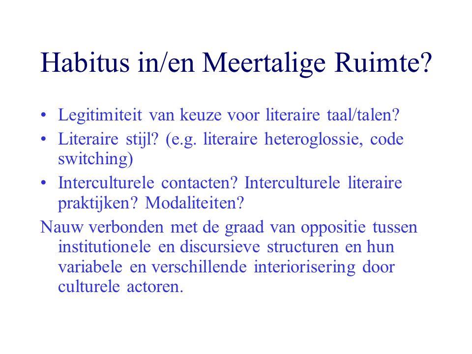 Habitus in/en Meertalige Ruimte? Legitimiteit van keuze voor literaire taal/talen? Literaire stijl? (e.g. literaire heteroglossie, code switching) Int