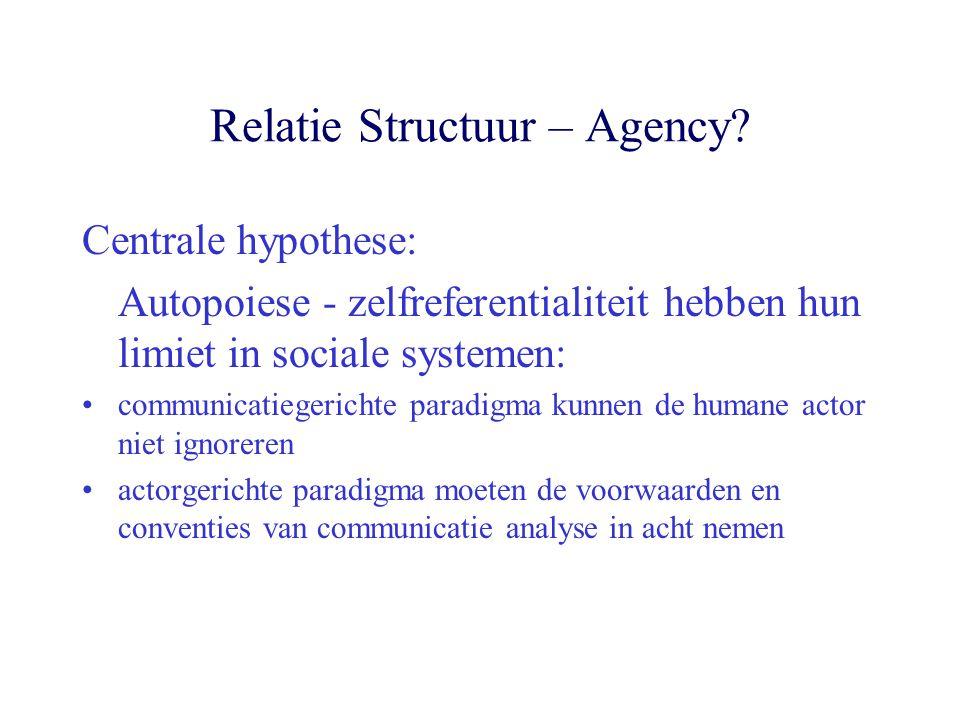 Relatie Structuur – Agency? Centrale hypothese: Autopoiese - zelfreferentialiteit hebben hun limiet in sociale systemen: communicatiegerichte paradigm