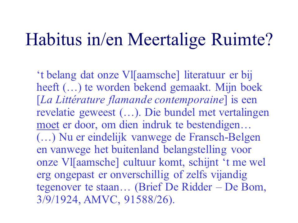 Habitus in/en Meertalige Ruimte? 't belang dat onze Vl[aamsche] literatuur er bij heeft (…) te worden bekend gemaakt. Mijn boek [La Littérature flaman