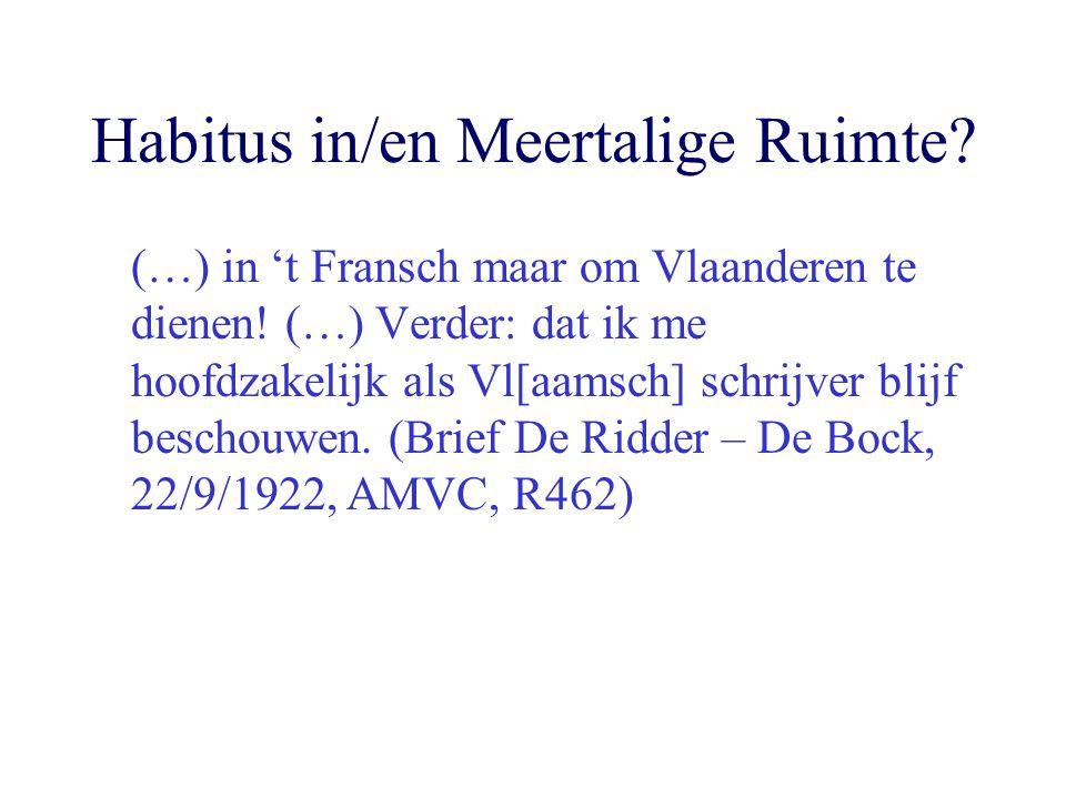 Habitus in/en Meertalige Ruimte? (…) in 't Fransch maar om Vlaanderen te dienen! (…) Verder: dat ik me hoofdzakelijk als Vl[aamsch] schrijver blijf be